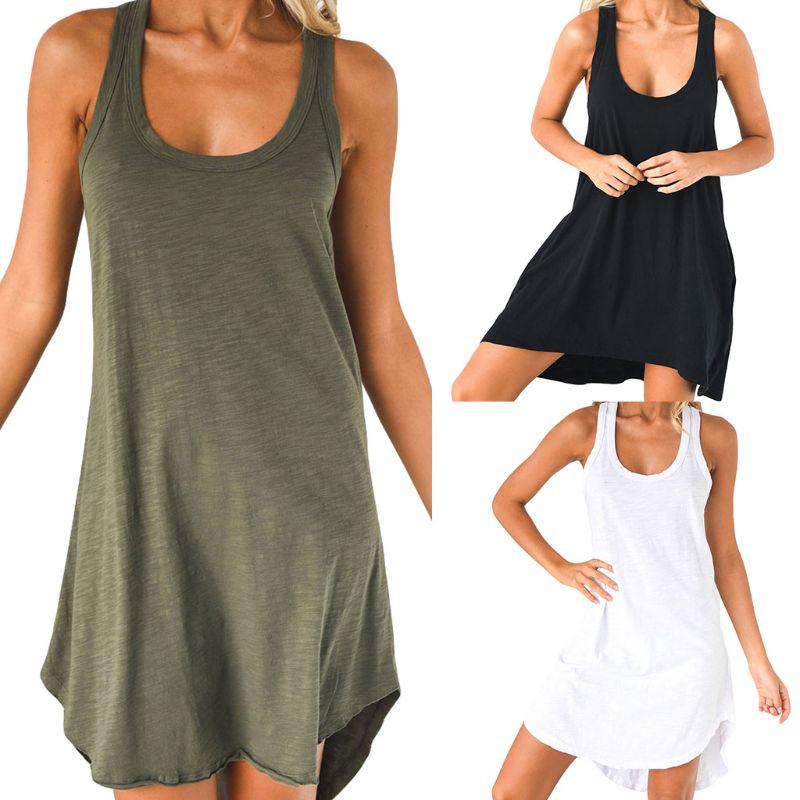 Women Sleeveless Loose Casual Solid Dress Summer Swing Mini Sundress Shirtdress