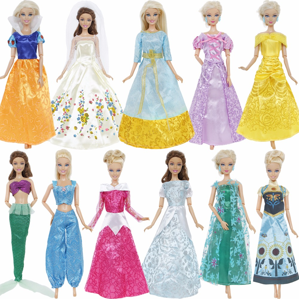 One Set Fashion Fairy Tale Princess Doll Dress Wedding Party Gown Outfit Accessories Clothes For Barbie Doll Girl Kid Toys