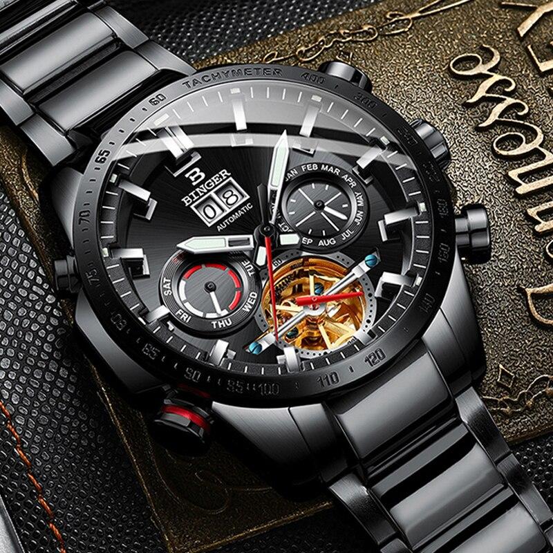 Suíça New relógios Homens Mecânico Automático do Relógio de aço Preto Multi-girando janela tourbillon relógio de safira À Prova D' Água