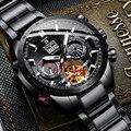 Switzerland новые черные стальные часы Мужские автоматические механические часы Мульти-вращающийся турбийон окно водонепроницаемые часы с сапф...