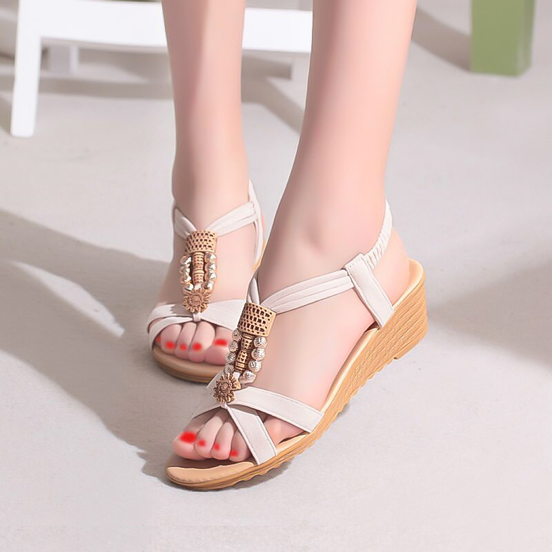 LAKESHI Summer Women Sandals Fashion Platform Shoes Wedge Shoes String Bead Bohemian Women Shoes Style Casual Ladies Sandals casual bohemia women platform sandals fashion wedge gladiator sexy female sandals boho girls summer women shoes bt574