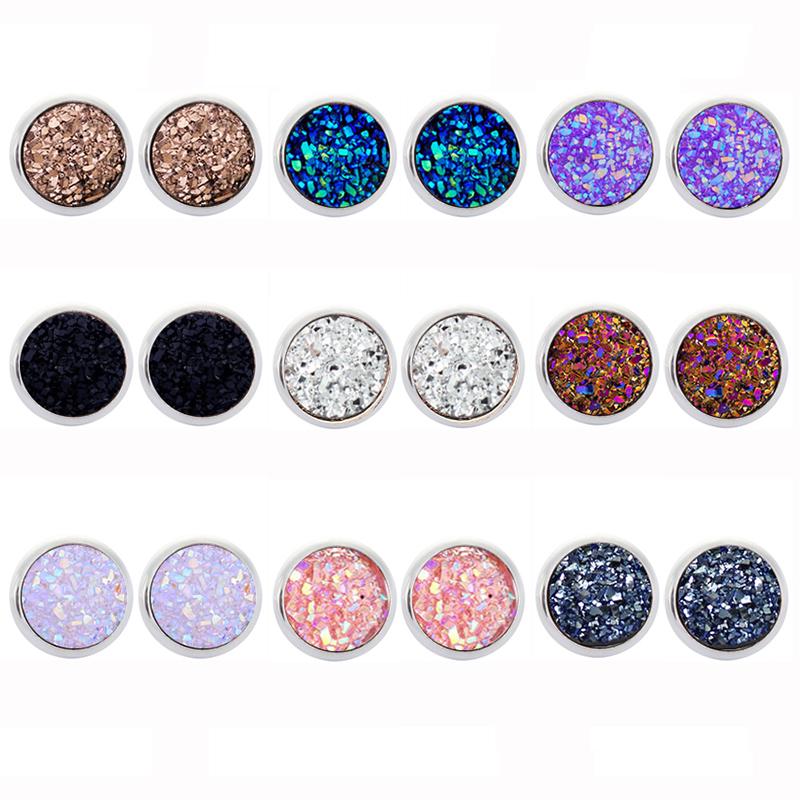New Vintage Imitation Stone Round Gypsophila Crystal Stud Earring 9 Colors Hypoallergenic Engagement Wedding Stud Earrings