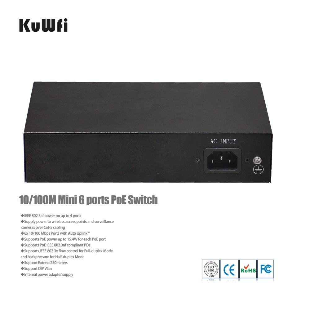 Image 4 - 4+2 Ports Ethernet Network Switch with 4 POE Ports and 2 Uplink Ethernet IEEE 802.3af  Support MDI/MDIX Extend 250meters-in Network Switches from Computer & Office