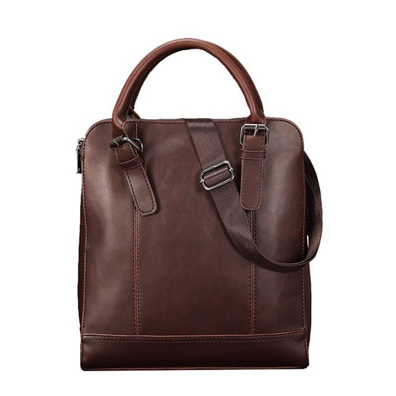 2019 Classic Men's Briefcase Crazy Horse Leather Handbag Vintage Large Shoulder Crossbody Bags Business Computer Laptop Bags