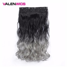 Valen Wigs Long Curly Synthetic Clip in one piece 22 Half Full Head Hairpiece 5 Clips One Piece Black Brown Colors