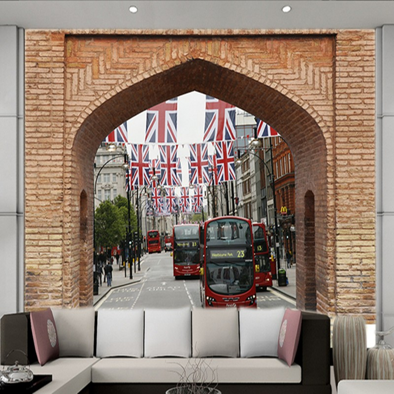 Photo Wallpaper 3D Background Wall UK Street Red Bus Mural Bedroom Living Room Restaurant Lobby Porch