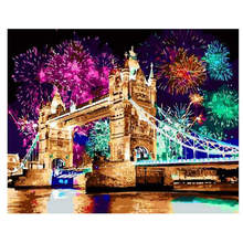 WONZOM Fireworks Bridge DIY Painting By Numbers Kit Acrylic Paint On Canvas Wall Art Picture Hand Painted For Home Decor 40x50CM