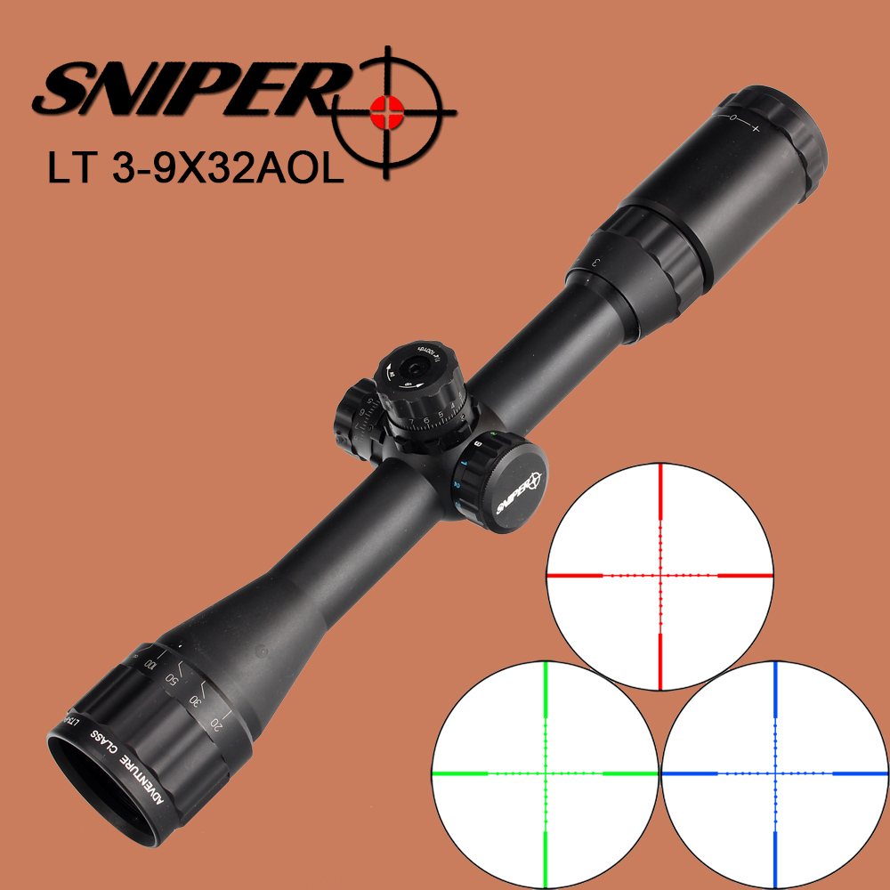 SNIPER LT 3-9X32AOL Hunting Riflescope Full Size Mil-Dot RGB Wire Reticle Illuminated with Rings for Tactical Rifle Scope sniper 3 9x50 aol hunting riflescope tactical optical sight full size mil dot equipment rgb wire reticle for rifle scope