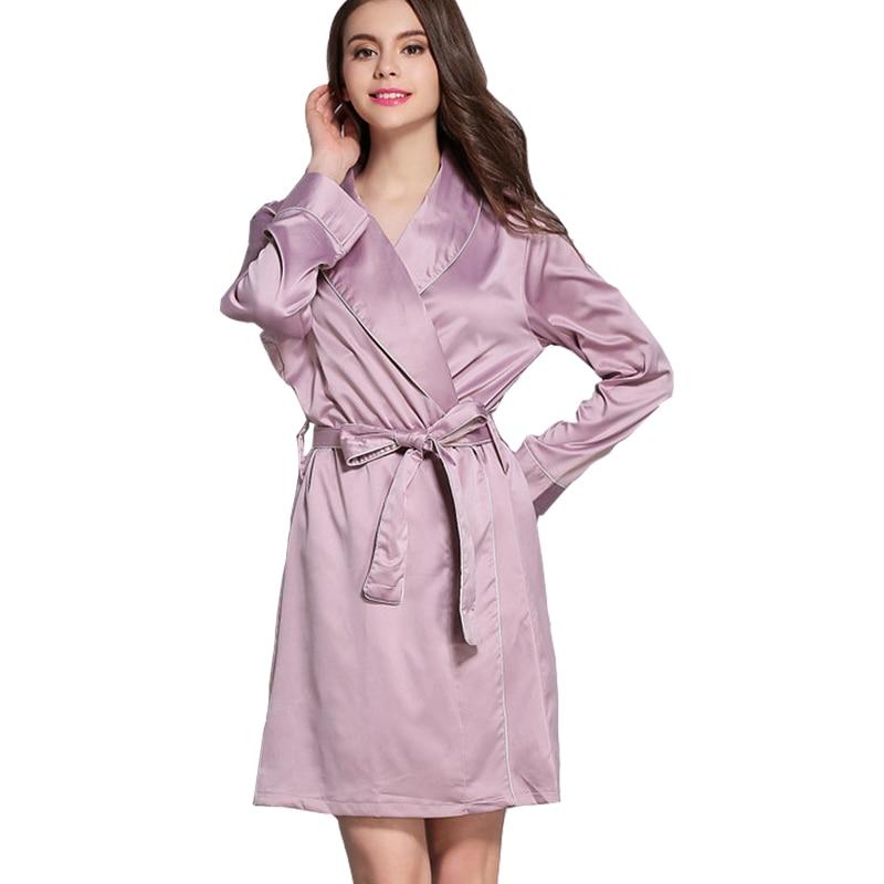 Women's Sexy Long Sleeve Rayon Silk Bathrobe Satin Long Nightgowns Piping Spa Robe Sleepwear With Belt