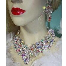 Gorgeous ต่างหูชุดเครื่องประดับอุปกรณ์เสริม เครื่องประดับชุดเจ้าสาว คริสตัลสร้อยคอต่างหูผู้หญิง