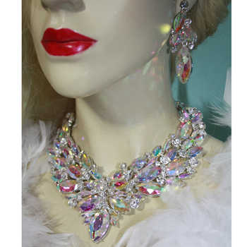 Gorgeous Bridal Jewelry Sets AB color marquise Crystal Necklace Earring Women Brides Party earrings sets Jewelry Accessories - DISCOUNT ITEM  20% OFF All Category