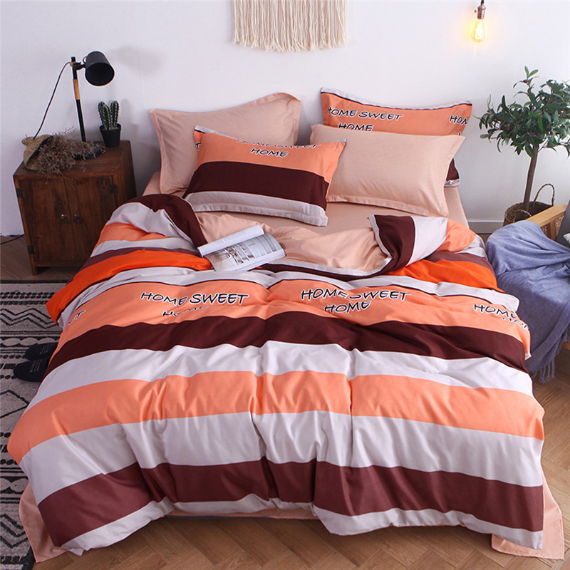 Image 2 - Four Piece Quilt Cover Striped Full SizePrincess lace sheet lace bedskirt bed mattress cover and pillowcas warm quilted padded-in Bedding Sets from Home & Garden