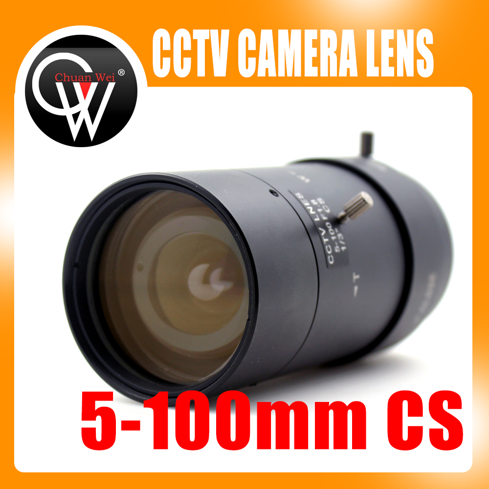 Nuevo 5-100mm CS F1.8 lente 1/3 Varifocal zoom Manual Iris lente de zoom cámara CCTV de seguridad