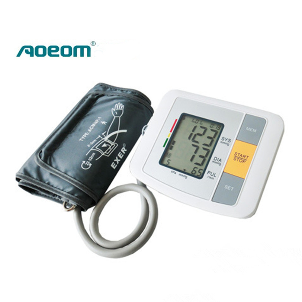 Portable Household Health Monitor Digital Upper Arm Blood Pressure Electronic Automatic Monitor Heartbeat Indicator Tonometer blood pressure monitor automatic digital manometer tonometer on the wrist cuff arm meter gauge measure portable bracelet device