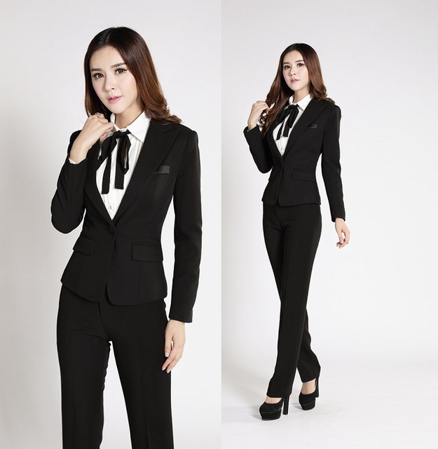 f7a34683a34 Formal Pantsuits Uniform Style Professional Office Ladies Work Wear Suits  Blazer And Pants Autumn Winter Business