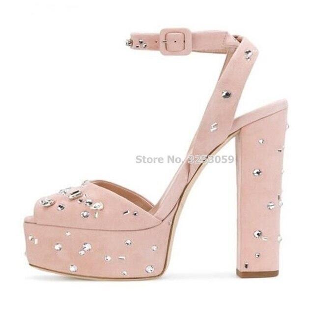 aca69672d92d ALMUDENA Baby Pink Embellished Platform Sandals Chunky Heel Bling Bling  Crystal Beaded Super High Heels Wedding Pumps Vogue Shoe