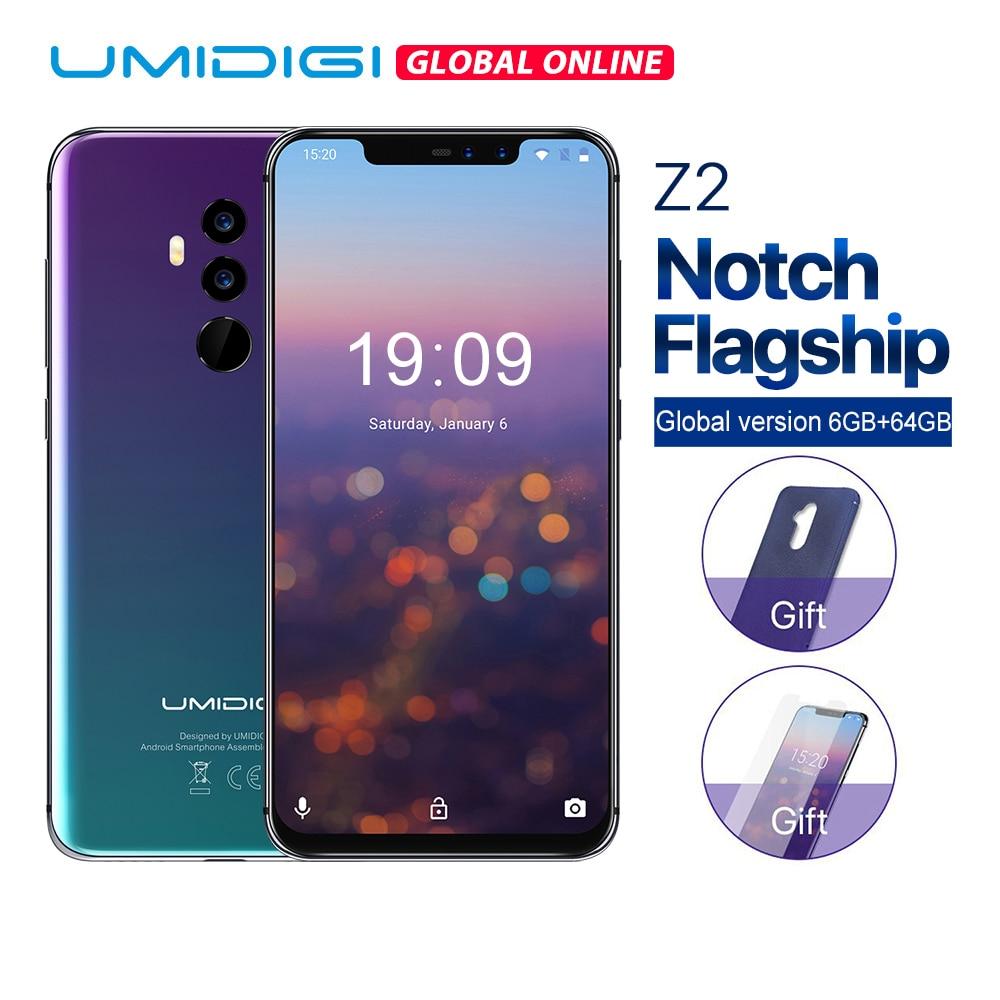 UMIDIGI Z2 6.2 Cran Plein Écran Android 8.1 smartphone Face Unlock 6 gb 64 gb P23 Octa Core 16MP + 8MP 4g LTE mobile téléphone tactile ID