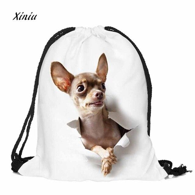 2018 Wew moda Unisex mochilas Emoji 3D Animal impresión bolsos Drawstring mochila bolsa de viaje para adolescentes