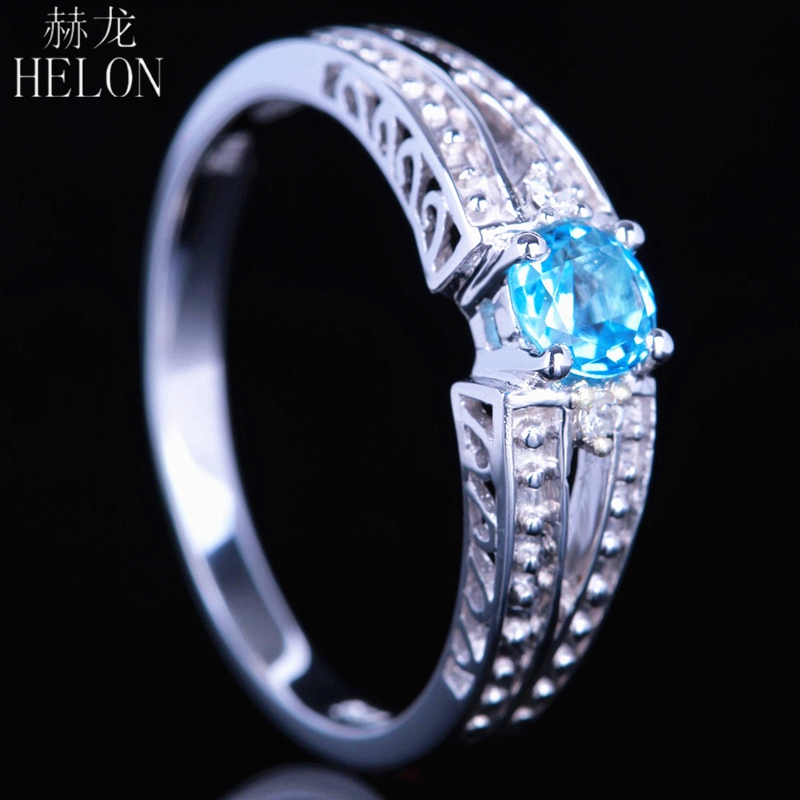HELON Certified Round Genuine Blue Topaz Ring Solid 14K White Gold Natural Diamonds Ring For Women Wedding Gift Vintage Jewelry solid 14k rose round 13mm gold diamond natural blue topaz ring wedding ring hot sale