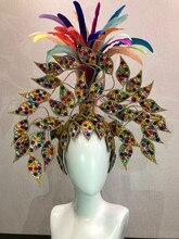 Brasilien Rio Spanisch Kuba Santiago Havanna Venedig Dionysia karneval Float Maske kleid masque ball kostüm samba gefieder plume Headd