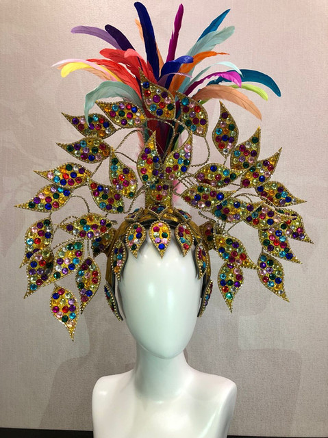 Máscara flotante de Carnaval de Río, Brasil, Cuba, Santiago, La Habana, Venecia, Dionysia, vestido de baile de máscaras, disfraz de samba, plumaje, plume, Headd