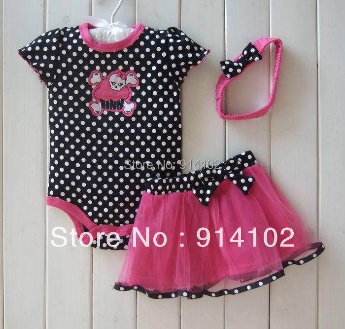 Retail Baby Girl Clothes 3 Piece Suits Skull Romper +Tutu Skirt + Headband Dot Fashion Summer Kids Girls Clothing baby girl clothes newborn 3 piece suits short romper tutu skirt headband summer girls clothing sets for infant outfits