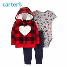 Carter's 3Pcs Autumn winter fleece hooded long sleeve jacket cotton floral print bodysuit baby girl clothes set 121I694