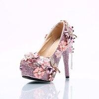 Moraima SNC бренд розовый туфли-лодочки со стразами ручной работы творческие цветы обувь на платформе женщины Fringe невесты Обувь на высоком каблу...