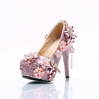 Moraima Snc brand pink Rhinestone pumps Handmade creative flowers platform shoes women fringe bride high heels pumps shoes 2018