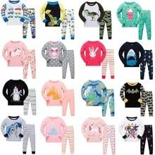 Купить с кэшбэком 2018 spring pijamas autumn full sleeve cotton boys sleepwear kids Dinosaur styling pyjama children baby girls pajamas