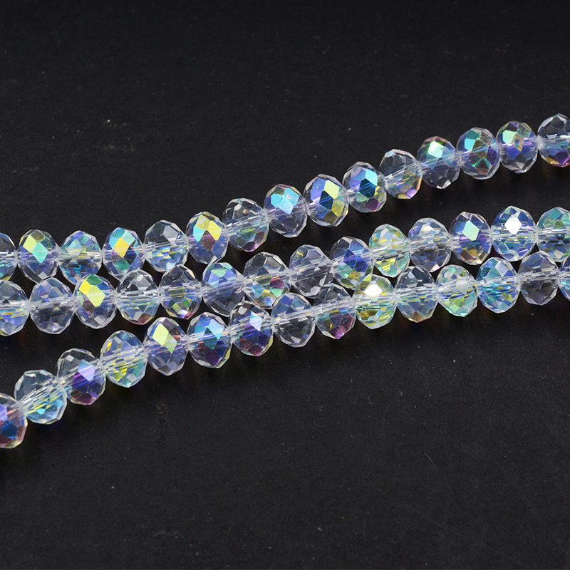 Wholesale Faceted Crystal Loose Charm Glass Beads purple AB 6*8mm 70pc