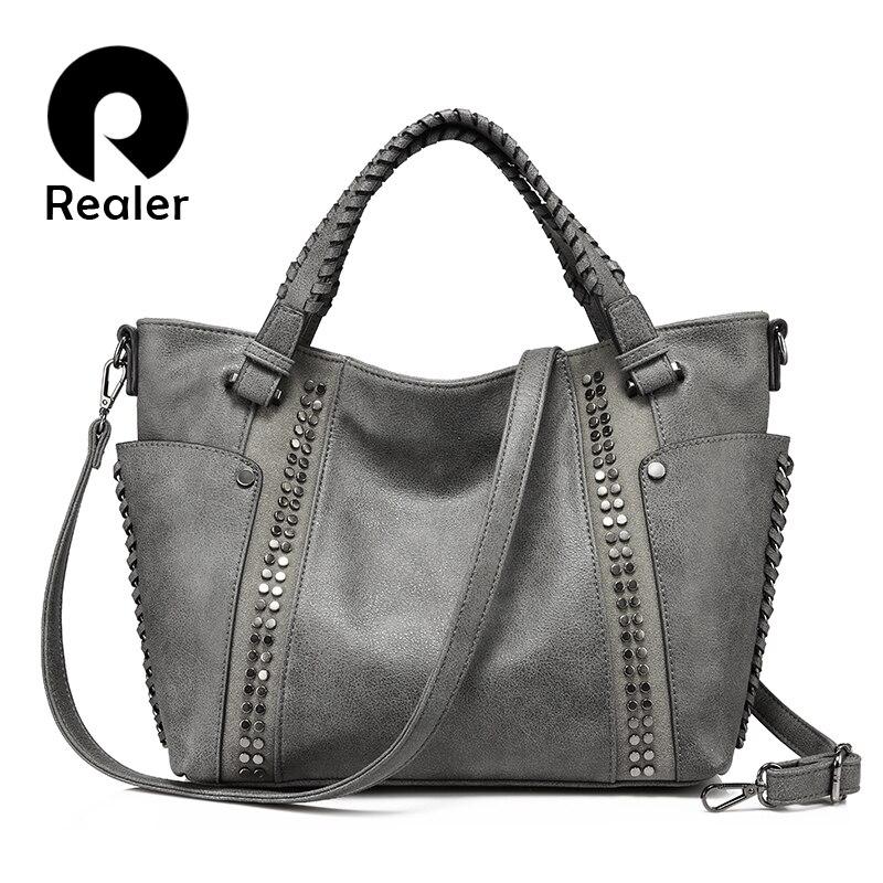 REALER women handbags artificial leather totes ladies shoulder crossbody  bags for women large messenger top-handle bag bucket 99c23d661c888
