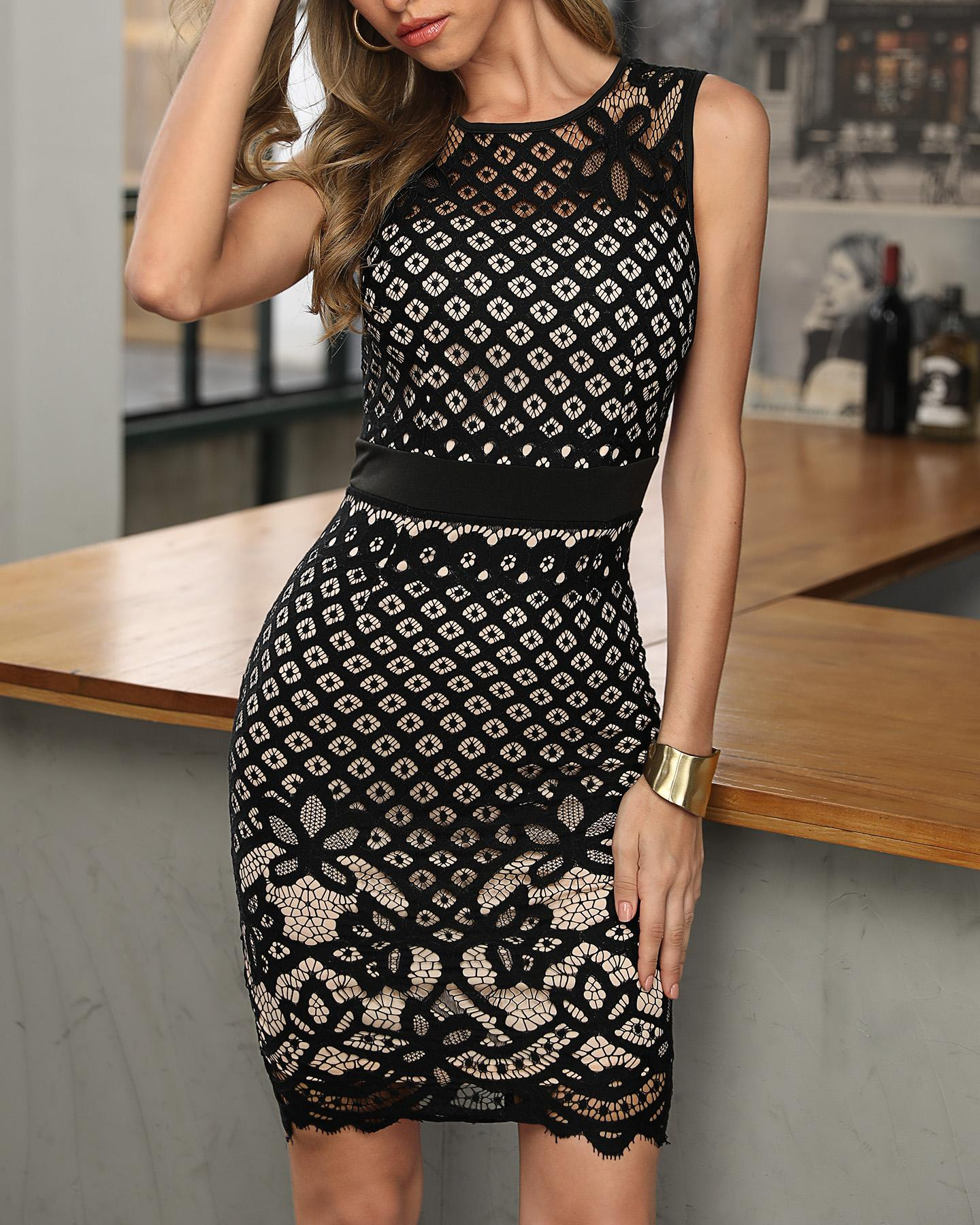 Black Hollow Out Lace Stitching Party Dress 2