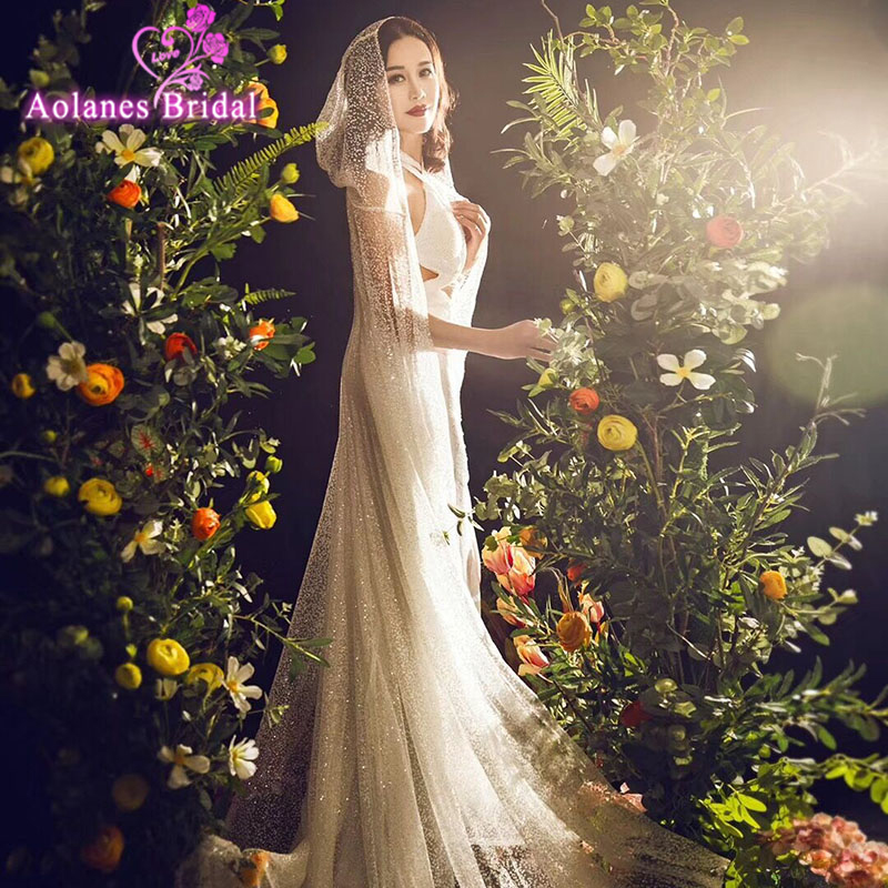 Мусульманская природа белые Blings Glude Блестящие Свадебные вуали Свадебная накидка Блестящие Свадебные вуали 3,5 М Длинные Свадебные вуали сва