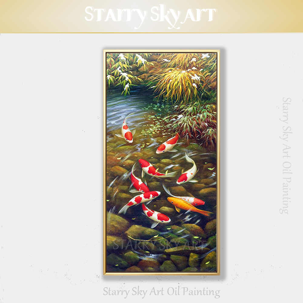 Professional Artist Pure Hand-painted Animal Vertical Rectangle Fish Koi Oil Painting on Canvas Chinese Fish Carp Oil Painting