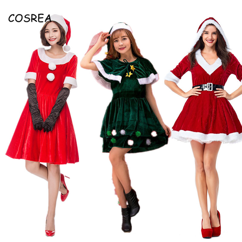 Santa Claus Hat Christmas Dresses Ladies Gloves Female Red Clothing Beanies Cap Short Sleeve Party Evening Cosplay Costumes