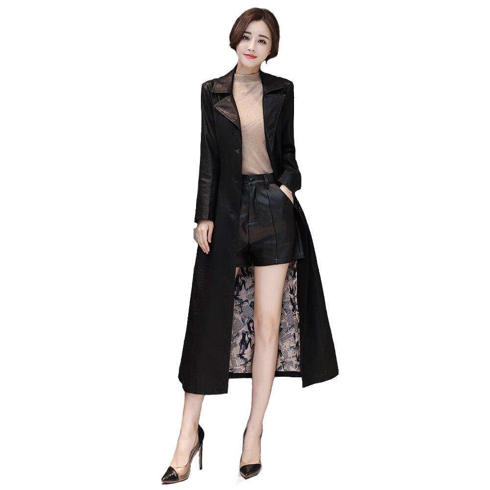 2018 Lady Autumn New Fashion Long   leather   jacket HighWaist Slim   leather   Windbreaker Single-breasted high quality   Leather   Coats