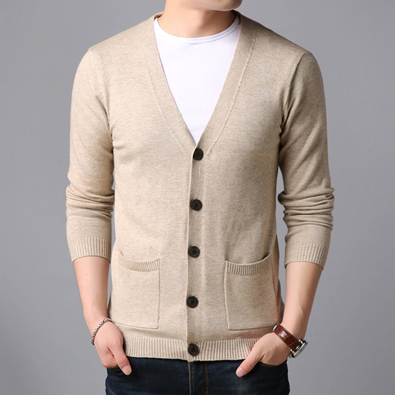 2019 Autumn New Fashion Brand Sweater For Mens Cardigan V Neck Slim Fit Jumpers Knit Solid Color Korean Style Casual Men Clothes