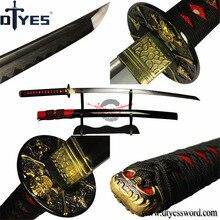 DTYES Real Damascus Steel Clay Tempered Obvious Hamon Blade Japanese Samurai Sword Full Handmade Katana Razor Sharp Battle Ready
