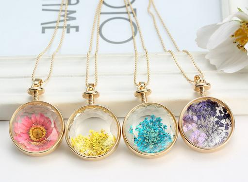 Fashion gold plated round glass pressed flower necklace diy dried 5 mozeypictures Choice Image