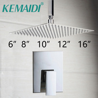 8 Bathroom Ceiling Mount Ultra Thin Rainfall Shower Head Control Valve Wall Mounted Hot Cold Water