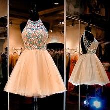 Reizvolles Geöffnetes Zurück Champagne Mini Homecoming Kleid 2016 Luxus Perlen Kristall Abendkleid Neue Design Weg-schulter Cocktailkleid
