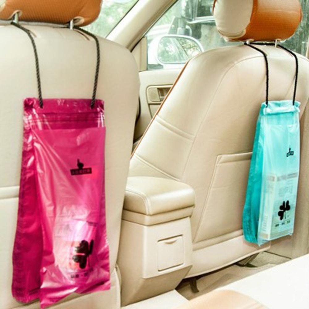 50pcs Car Sealable Garbage Bag Auto Seat Back Hanging Trash Bin Trash Bag Storage Bag Car Interior Accessories 34.8x18cm