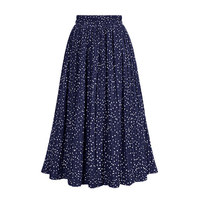 2018 Spring Pleated Skirts Women Dot Printed Casual high waist Folding Skirt Chiffon Summer Female Fashion Clothing