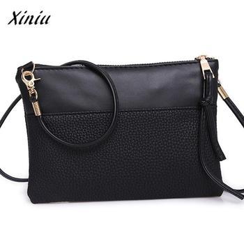 Handbag Women Patchwork PU Leather Shoulder Bag Ladies Black Zipper Panelled Messenger Bag bolsa de festa de luxo #6111 messenger bag