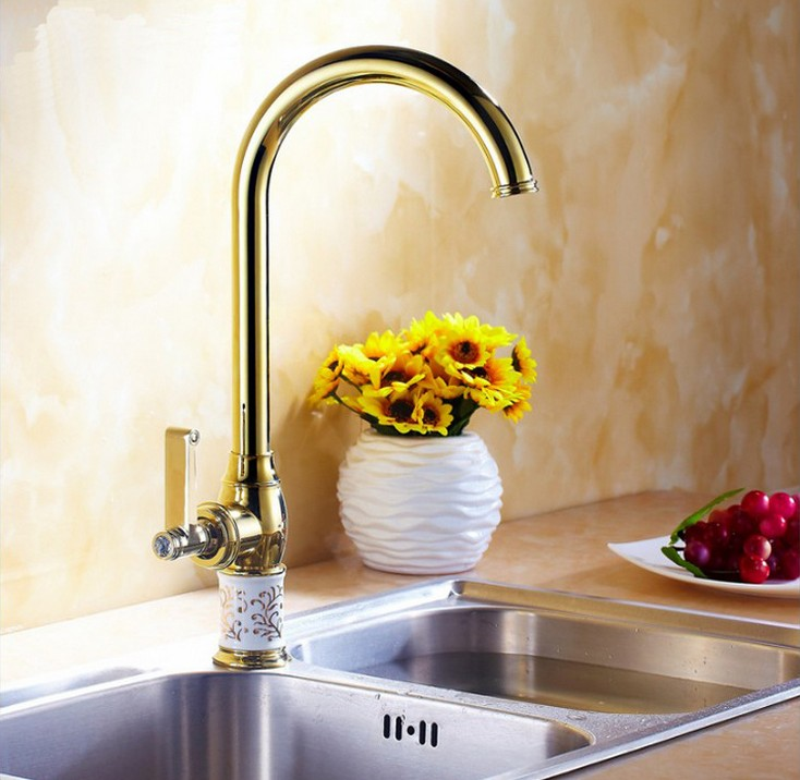 Free Shipping 2016 NEW Luxury Gold Plated Kitchen Sinks Faucet /360 degree rotating Kitchen Hot and Cold Mixer Tap 2 Color