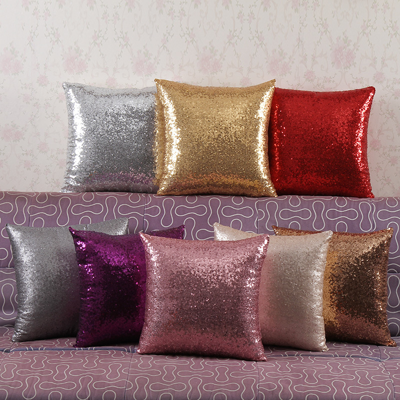 On sale 40x40cm decorative pillow covers Zero Solid Color Glitter Sequins Throw Pillow Case Cafe Home Decor Cushion Covers