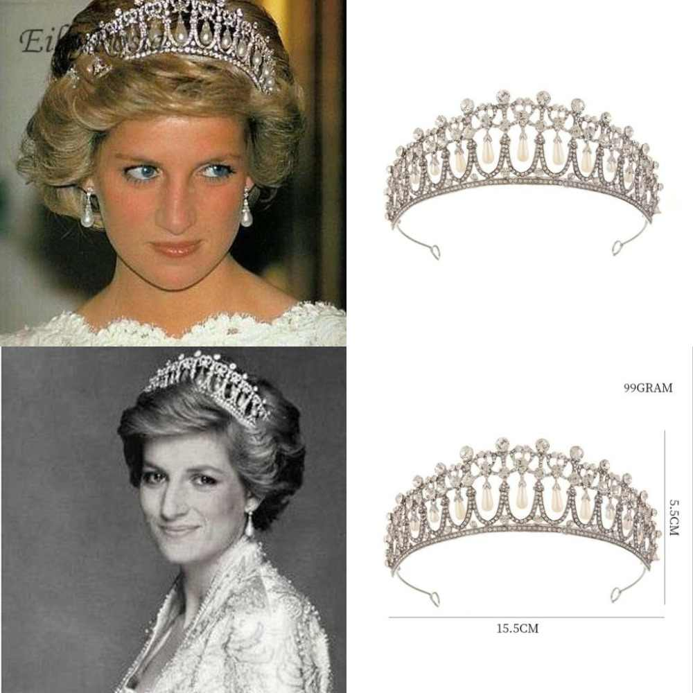New Princess Diana Crown Crystal And Pearl For Bridal Hair Accessories Vintage Tiara Wedding Jewelry Royal