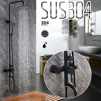 304 Stainless Steel Shower Set With Black Baking Mixer Tap Stainless Steel Bathroom Faucet 073