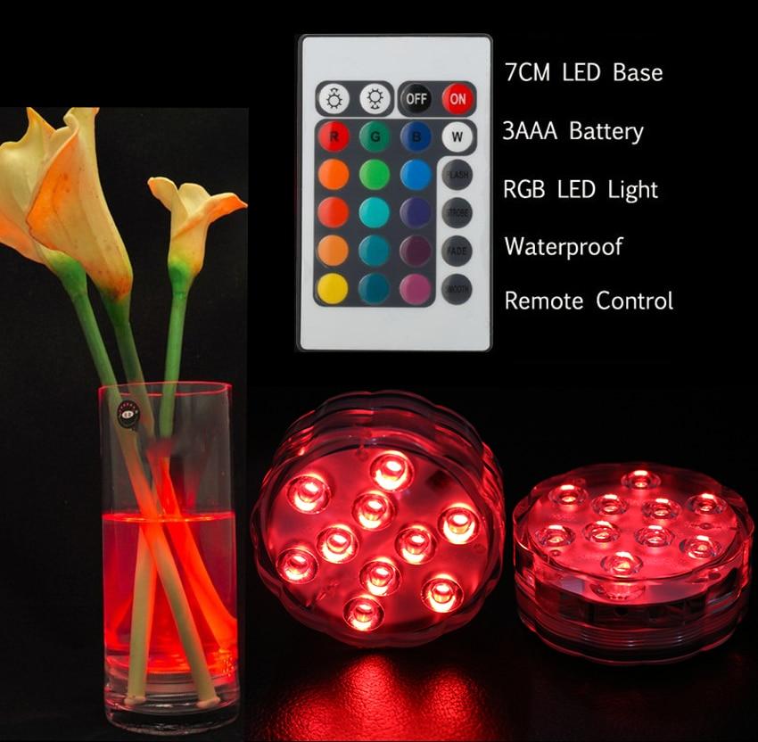 12PCS IR télécommandé 10 multicolores SMD LED Vase Light, - Éclairage festif - Photo 3